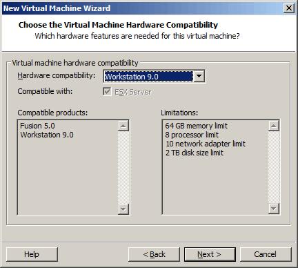选择虚拟机的兼容性