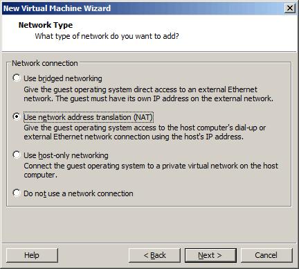 选择虚拟机的联网方式